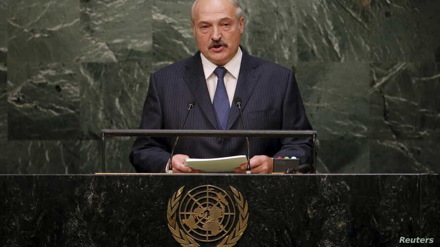 Belarus' President Alexander Lukashenko addresses a plenary meeting of the United Nations Sustainable Development Summit 2015 at the United Nations headquarters in Manhattan, New York, Sept. 27, 2015.