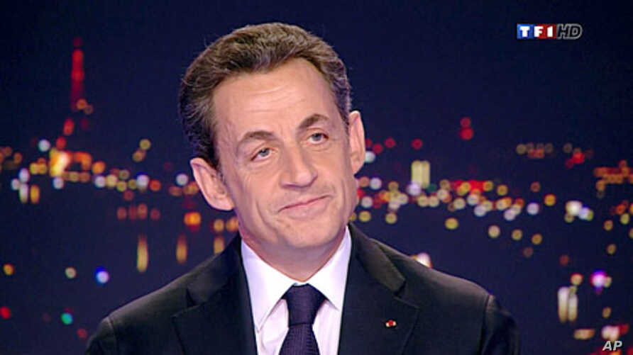 France's President Nicolas Sarkozy, seen in this video grab, formally declares his candidacy for a second term on France TF1 television prime time news program, February 15, 2012.