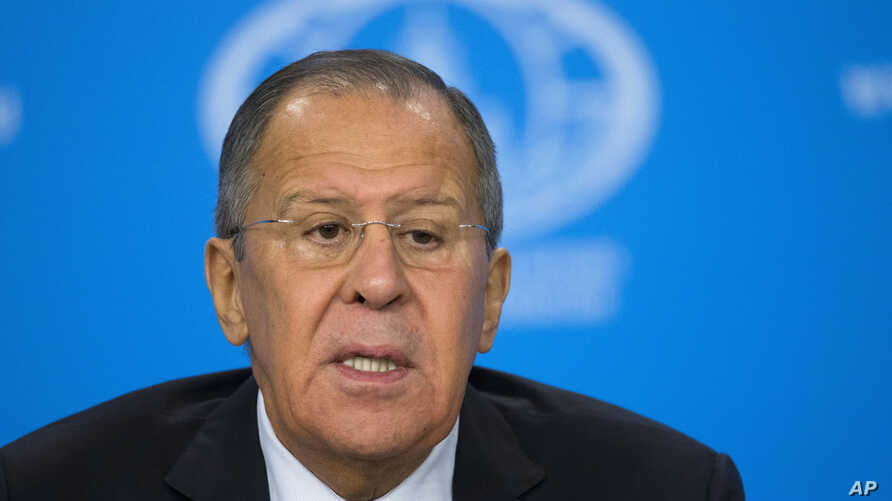RusRussian Foreign Minister Sergey Lavrov speaks during his annual roundup news conference summing up his ministry's work in 2017 in Moscow, Jan. 15, 2018.sia Politics