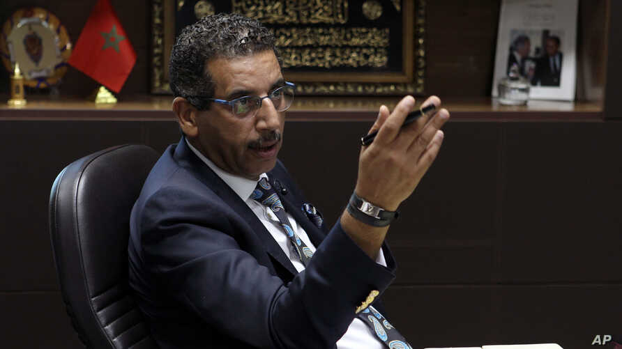 The director of the Central Bureau of Judicial Investigations Abdelhak Khiame gestures during an interview with The Associated Press at his headquarters in Sale near Rabat, Morocco, Tuesday, Sept. 19, 2017.