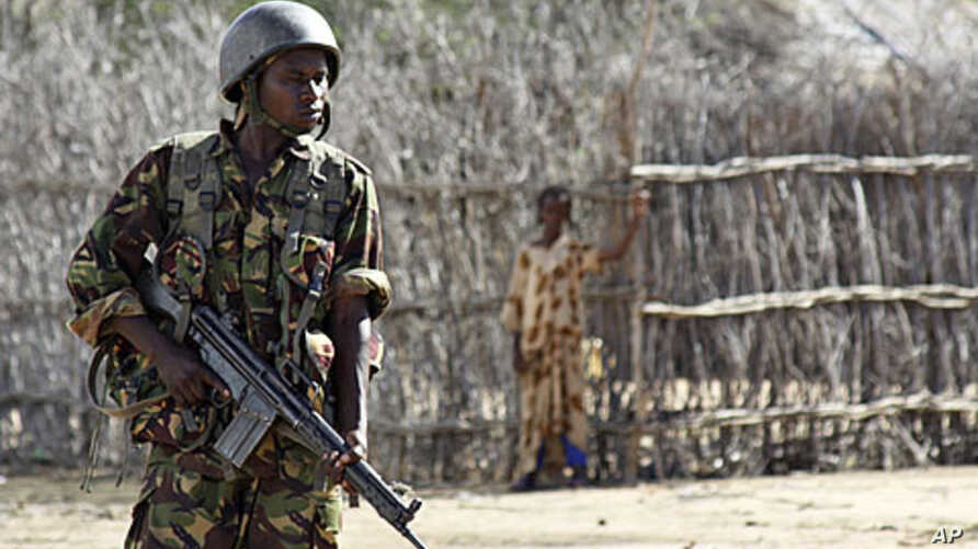 A Kenyan soldier guards an airstrip in an area near the Somali-Kenyan border where al-Shabab militants are active (file photo).
