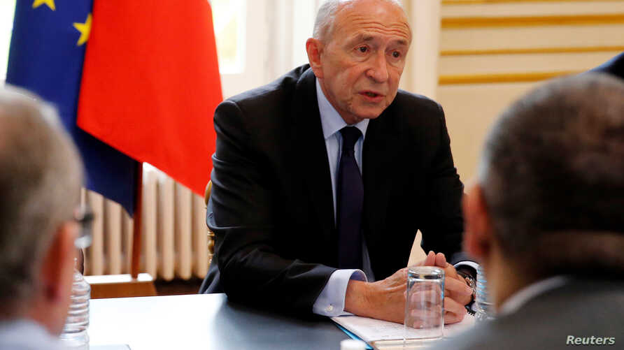 French Interior Minister Gerard Collomb heads a staff meeting the day after a man killed a passer-by in a knife attack in the heart of Paris and injured four others before being shot dead by police, in Paris, May 13, 2018.
