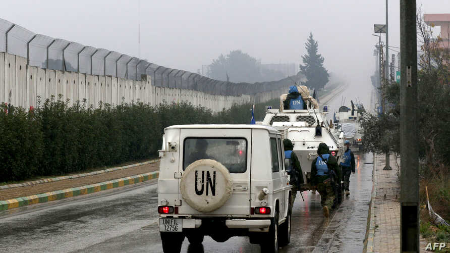 United Nations Interim Force in Lebanon  vehicles patrol along the border with Israel near the southern Lebanese village of Kfar Kila on Dec. 6, 2018. Israel announced on Dec. 4 that it had discovered Hezbollah tunnels.