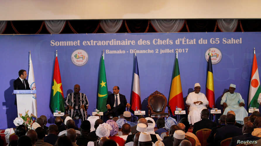 French President Emmanuel Macron speaks during G5 Sahel Summit at the Koulouba Presidential Palace in Bamako, Mali, July 2, 2017.