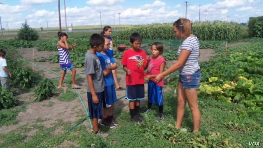 Young Crow Creek community gardeners teaching children about making healthy food choices.  Courtesy Crow Creek Fresh Food Initiative.