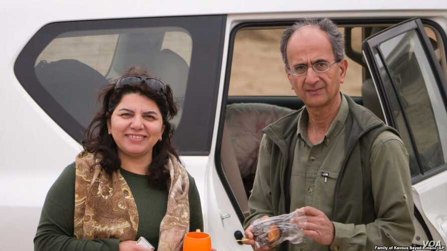 Maryam Mombeini appears in this undated photo with her late husband, Iranian-Canadian environmentalist Kavous Seyed-Emami, who died in Feb. 2018 in an Iranian prison after being arrested the previous month on suspicion of spying.