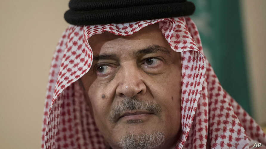 FILE - Saudi Foreign Minister Prince Saud al-Faisal pauses as he makes a statement to the media in Riyadh, Saudi Arabia, Jan. 5, 2014.