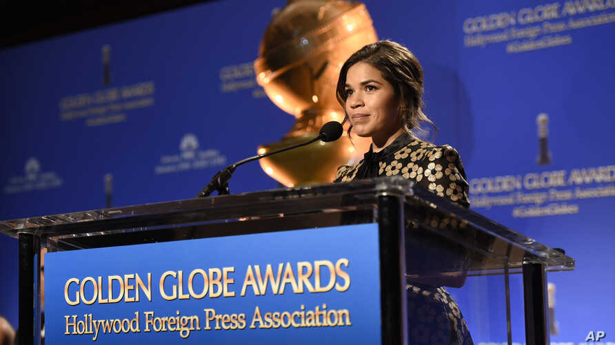 America Ferrera announces nominations for the 73rd annual Golden Globe Awards at the Beverly Hilton hotel in Beverly Hills, Calif., Dec. 10, 2015. The 73rd annual Golden Globe Awards will be held Jan. 10, 2016.