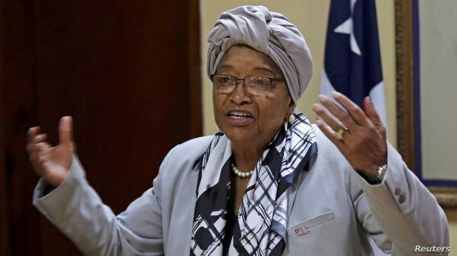 FILE - Liberia's President Ellen Johnson Sirleaf speaks during a news conference at the Presidential Palace in Monrovia, Liberia, Oct. 12, 2017.