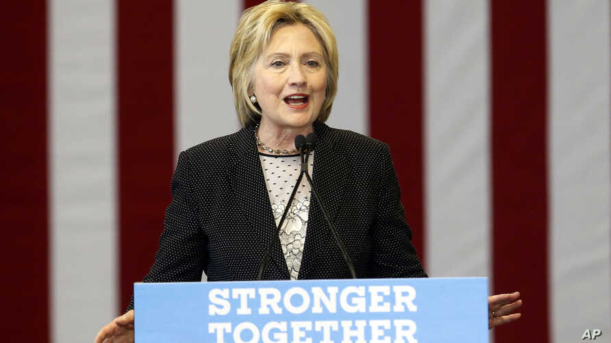 Democratic presidential candidate Hillary Clinton speaks about the economy at Fort Hayes Vocational School in Columbus, Ohio, June 21, 2016.