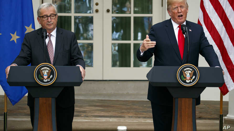 President Donald Trump and European Commission president Jean-Claude Juncker speak in the Rose Garden of the White House, Wednesday, July 25, 2018, in Washington.