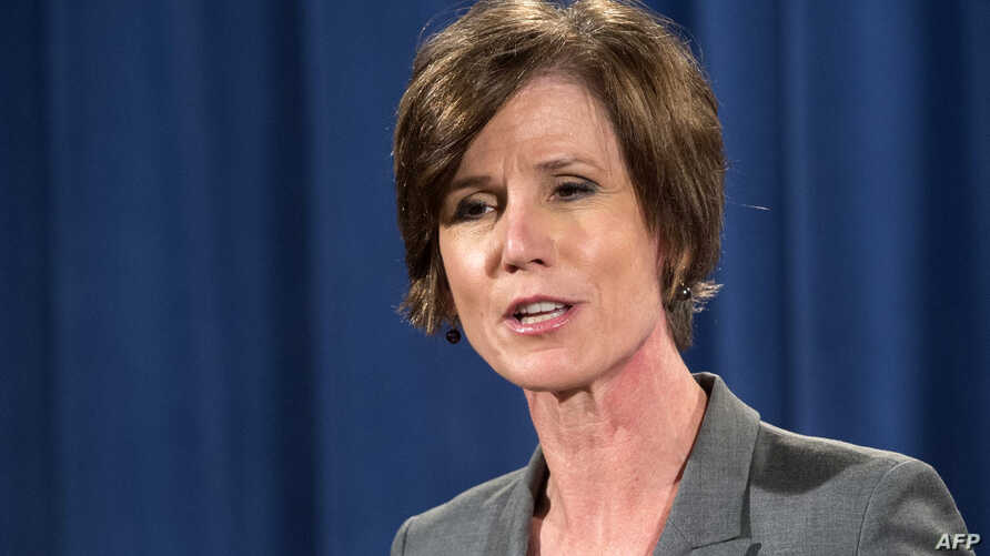 Deputy Attorney General Sally Yates speaking during a press conference to announce environmental and consumer relief in the Volkswagen litigation at the Department of Justice in Washington, DC, June 28, 2016.