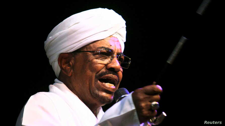 Sudan's President Omar Hassan al-Bashir speaks to the crowd after a swearing-in ceremony at green square in Khartoum, June 2, 2015.