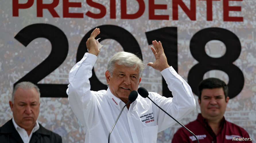 Front-runner Andres Manuel Lopez Obrador of the National Regeneration Movement gestures while addressing supporters during a campaign rally in Nuevo Laredo, Mexico, April 5, 2018.