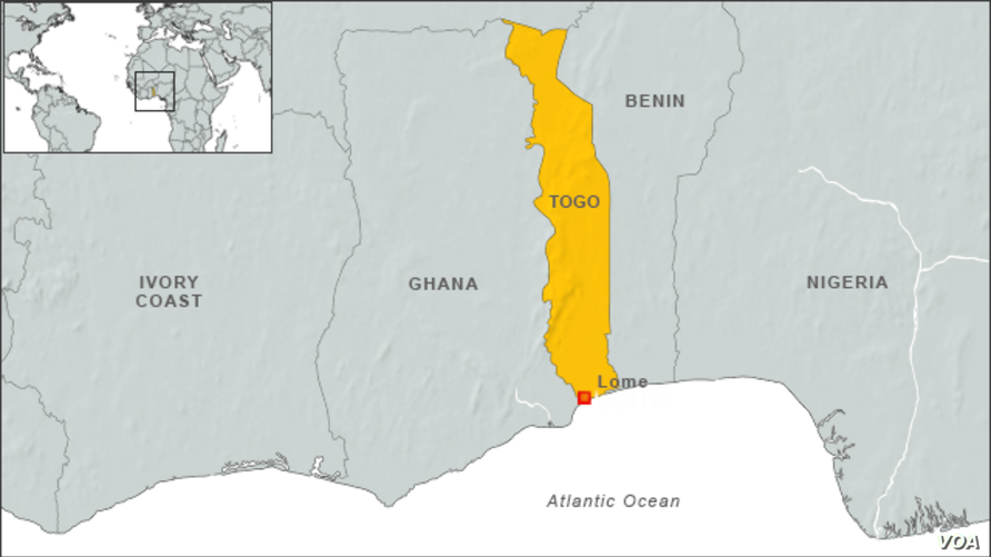 Map of Togo, Africa