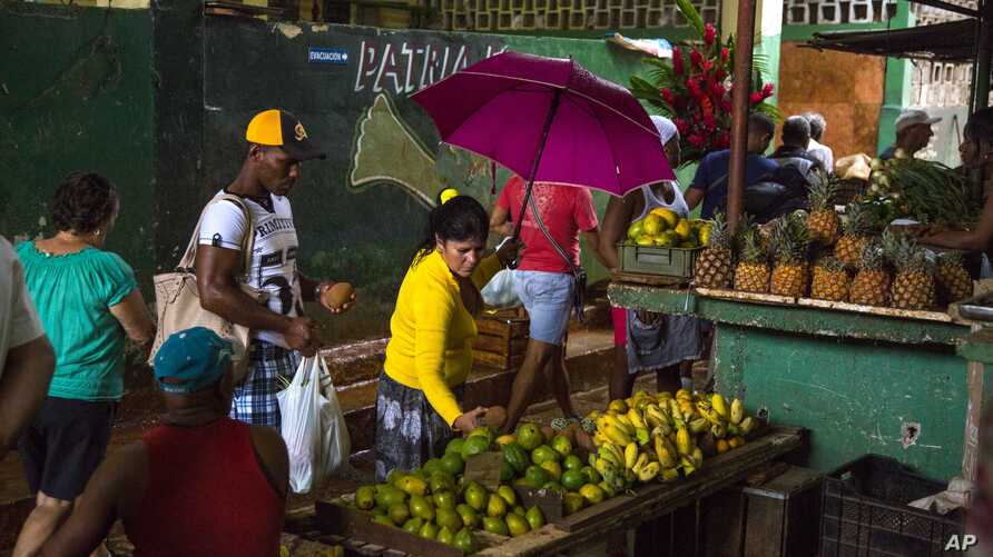 FILE - People shop at the El Egido food market in Havana, Cuba,  Dec. 4, 2015. Cuban state-run media reported on April 13, 2016 that Cuba will open its state-controlled wholesale market to a limited number of private business owners in response to ri