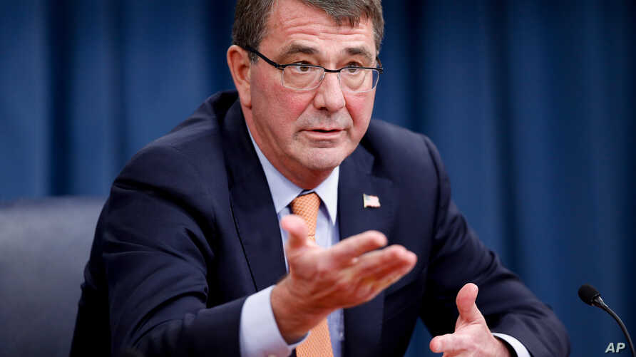 Defense Secretary Ashton Carter speaks during a news conference at the Pentagon, April 16, 2015.