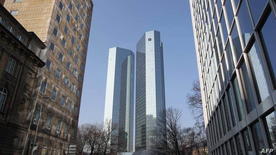 FILE - The towers of the German company Deutsche Bank are pictured in Frankfurt, western Germany.