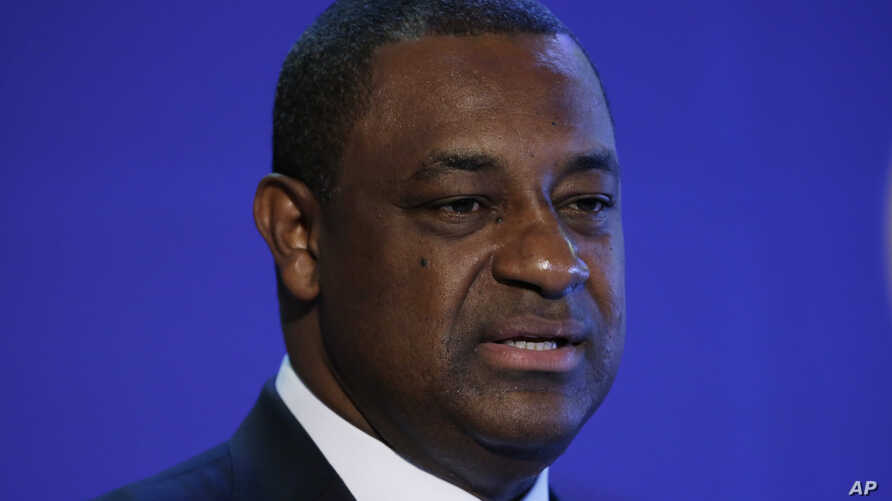 FILE - Jeffrey Webb speaks during a Confederation of North and Central America and Caribbean Association Football news conference in Philadelphia, March 12, 2015.