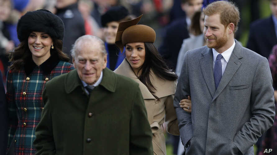 From left, Kate, Duchess of Cambridge, and Prince Philip, Meghan Markle, and Prince Harry arrive to the traditional Christmas Days service, at St. Mary Magdalene Church in Sandringham, Dec. 25, 2017.