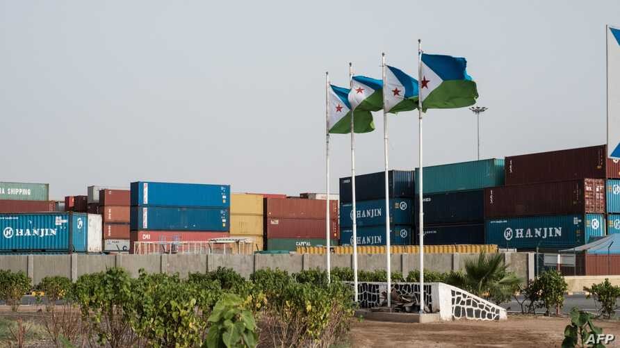 Djibouti's national flags fly at the Doraleh Container Terminal (DCT) in Djibouti, July 4, 2018.