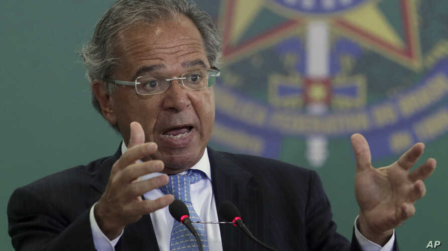 FILE - Brazil's Economy Minister Paulo Guedes speaks during a ceremony where the country's government bank presidents are to be presented at Planalto presidential palace in Brasilia, Jan. 7, 2019.