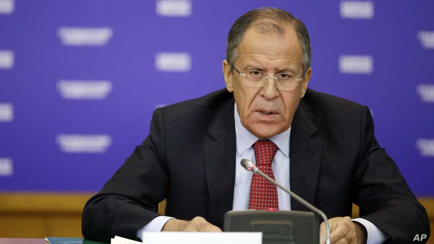 Russian Foreign Minister Sergei Lavrov delivers a public lecture at the Foreign Ministry's headquarters in Moscow Oct. 20, 2014.