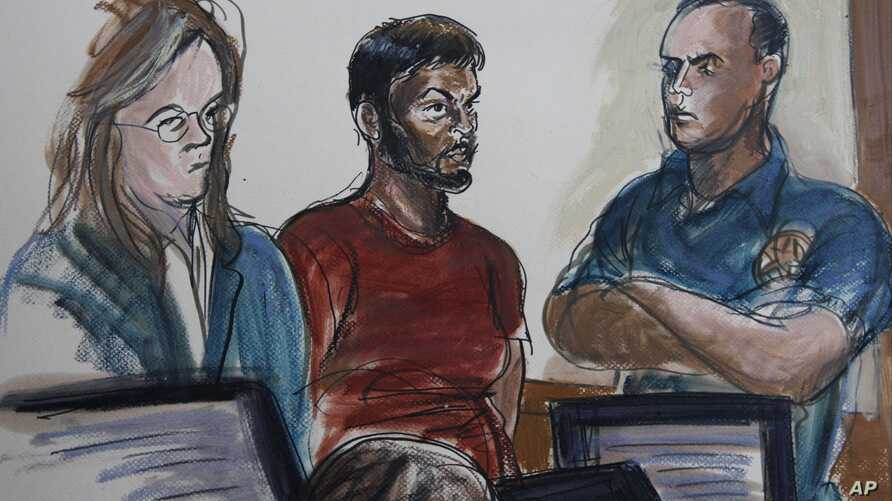 Courtroom sketch shows Quazi Mohammad Rezwanul Ahsan Nafis, (center)