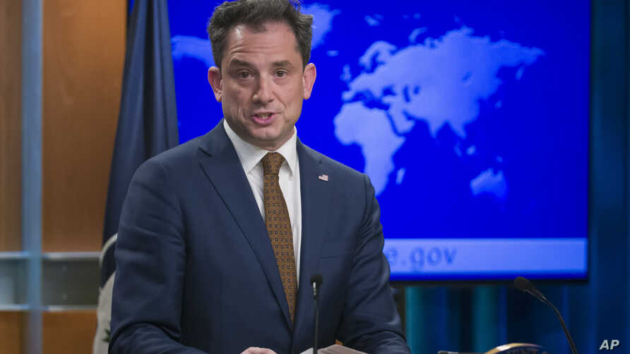 State Department deputy spokesperson Robert Palladino speaks during a media availability at the State Department, Feb. 7, 2019, in Washington.