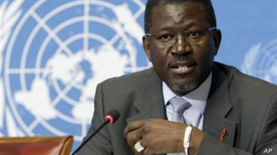 Elhadj As Sy from Senegal, Director Partnerships and External Relations Department UNAIDS, speaks during a press briefing at the United Nations building in Geneva, Switzerland (File Photo)