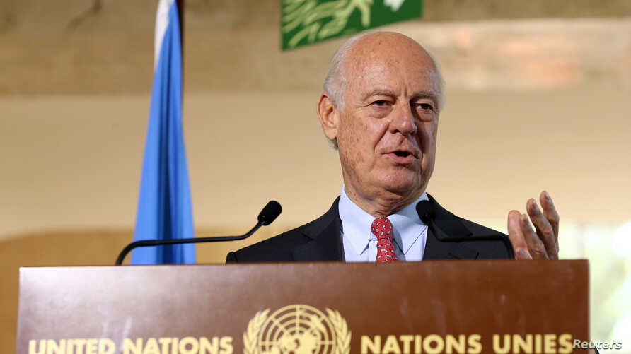 U.N. mediator for Syria Staffan de Mistura attends a news conference at the United Nations in Geneva, Switzerland, Sept. 9, 2016.