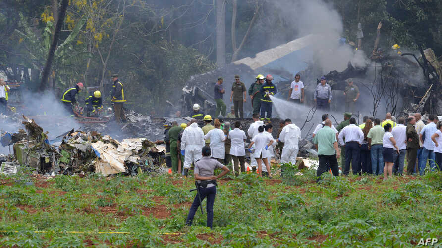 The scene of a Cubana de Aviacion aircraft crash near Havana's Jose Marti airport, May 18, 2018.