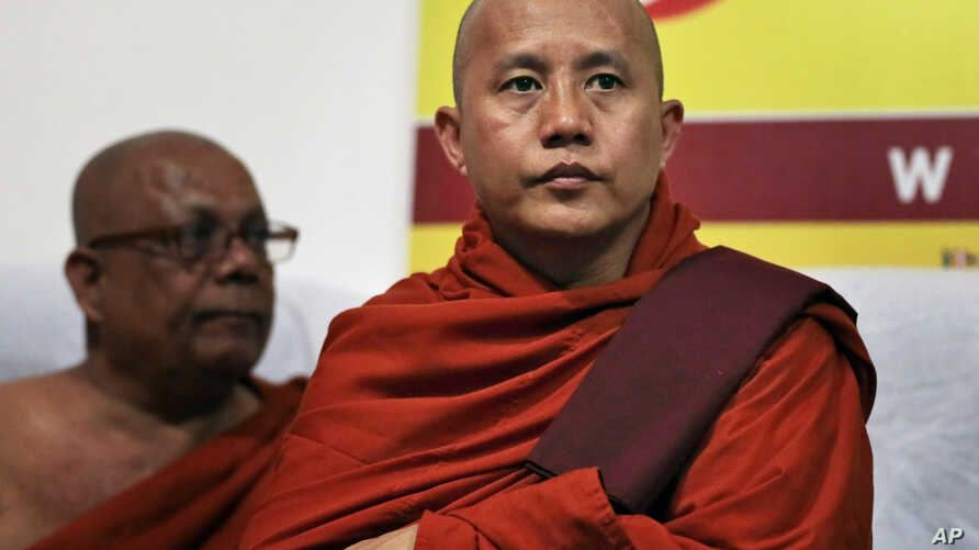 FILE - Myanmar's radical Buddhist monk Ashin Wirathu attends a media briefing in Colombo, Sri Lanka, Tuesday, Sept. 30, 2014.