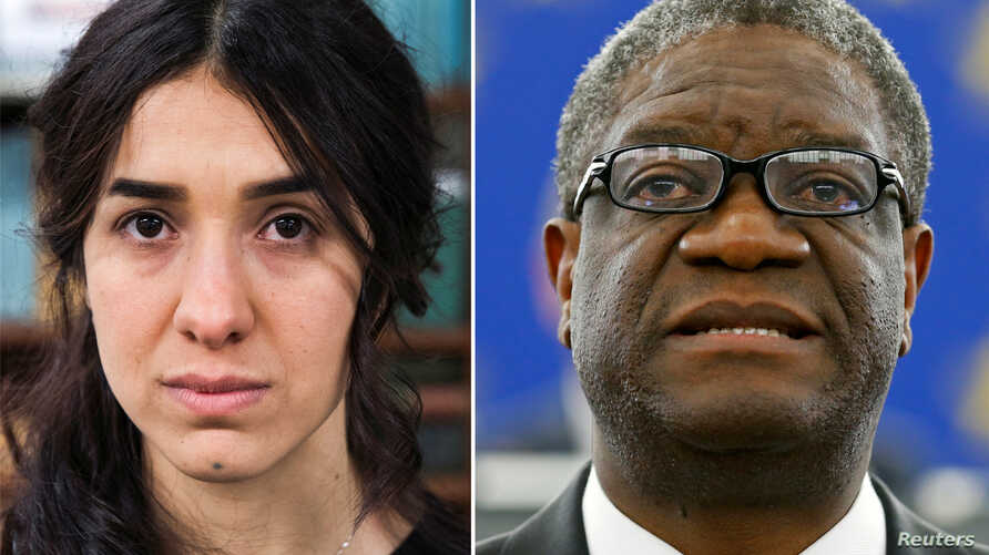 A combination picture shows the Nobel Prize for Peace 2018 winners: Yazidi survivor Nadia Murad posing for a portrait at United Nations headquarters in New York, March 9, 2017, and Denis Mukwege during an award ceremony to receive his 2014 Sakharov P