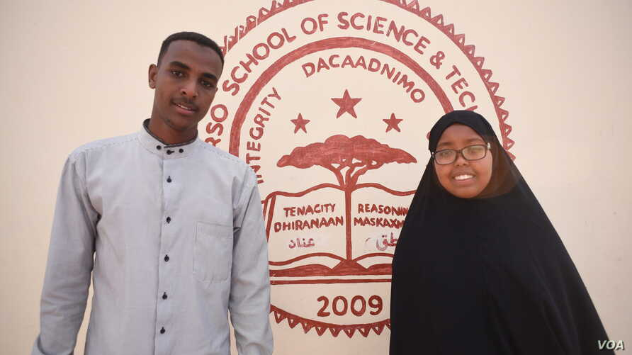 Abaarso School of Science and Technology students Shukri Ahmed Ali, 19, right, and Abdirizak Maxamuud Belel, 20, have been accepted to Wellesley College and Marist College in the United States, respectively. Hargeisa, Somaliland, Feb. 3, 2017. (J. Pa