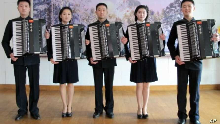 Young accordion players from the prestigious Kum Song Music School perform in Pyongyang, North Korea.