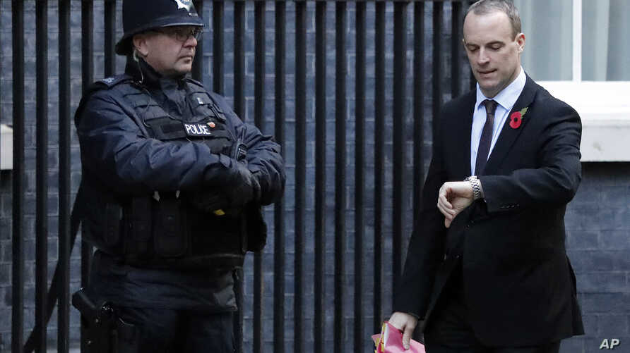 Dominic Raab, Secretary of State for Exiting the European Union, arrives at 10 Downing Street before a cabinet meeting in London, Britain, Oct. 29, 2018.
