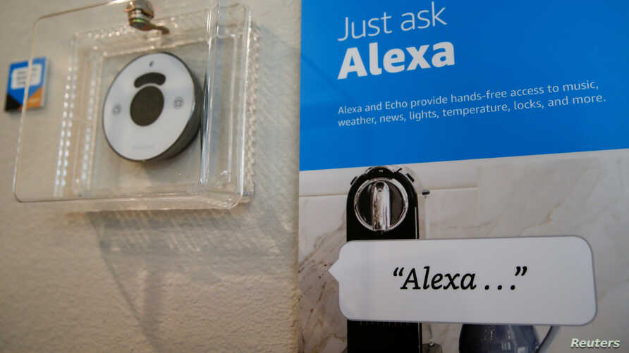"Prompts on how to use Amazon's Alexa personal assistant are seen in an Amazon ""experience center"" in Vallejo, California, May 8, 2018."