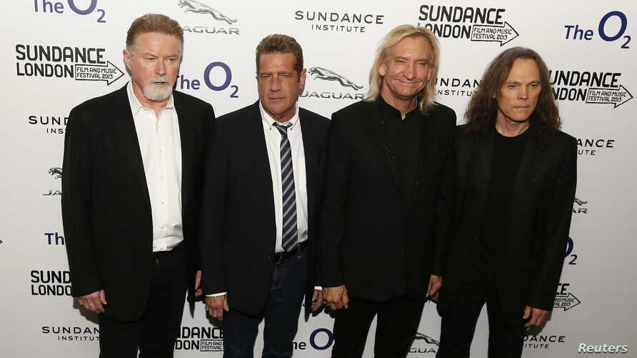 "Members of the band The Eagles (L - R) Don Henley, Glenn Frey, Joe Walsh and Timothy B. Schmit attend the premiere of the film ""History of the Eagles Part One"" during Sundance London, at the O2 Arena in London, April 25, 2013."