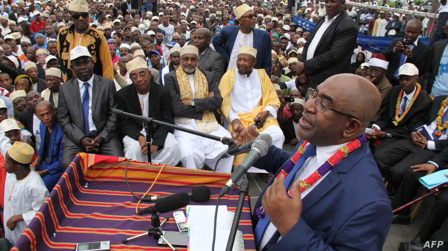 Azali Assoumani addresses supporters during a presidential campaign rally in Moroni, Comoros, Jan. 24, 2016. He was declared the winner of a runoff election April 15, 2016.