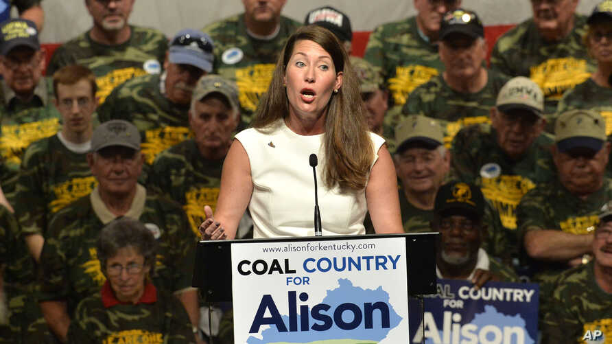Kentucky Democratic Senatorial candidate Alison Lundergan Grimes speaks to a group of supporters, including members of the United Mine Workers Association.