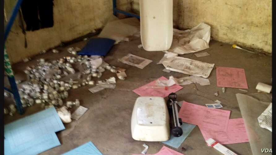 An infant scale lies broken amid patient records and medical supplies at Leer Hospital in Unity state, South Sudan. Doctors Without Borders says the hospital was vandalized something between the end of January and early February.