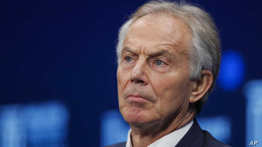 FILE - Former British Prime Minister Tony Blair is pictured during a discussion at the Milken Institute Global Conference, in Beverly Hills, Calif., April 30, 2018.