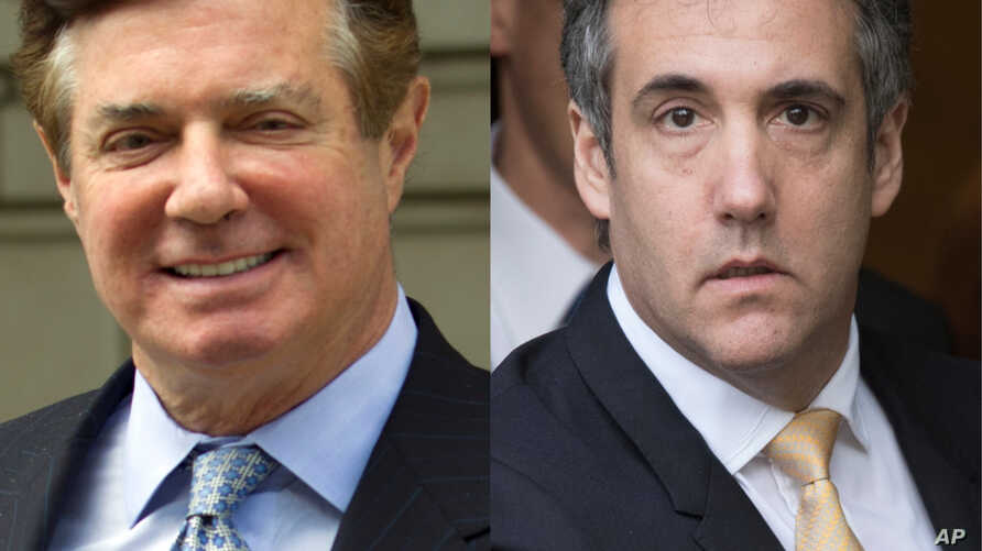 From left, Paul Manafort, former campaign chairman for the Donald Trump presidential campaign, and Michael Cohen, Trump's former personal lawyer.