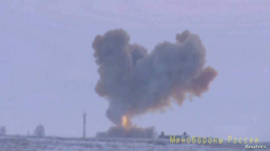 A still image taken from a video footage and released by Russia's Defense Ministry, Dec. 26, 2018, shows a test launch of an Avangard new hypersonic missile in Orenburg Region.