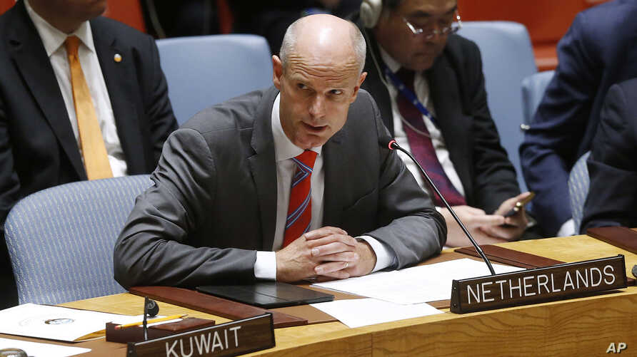 Dutch Foreign Minister Stef Blok addresses a meeting of the United Nations Security Council during the 73rd session of the U.N. General Assembly, at U.N. headquarters,  Sept. 27, 2018.