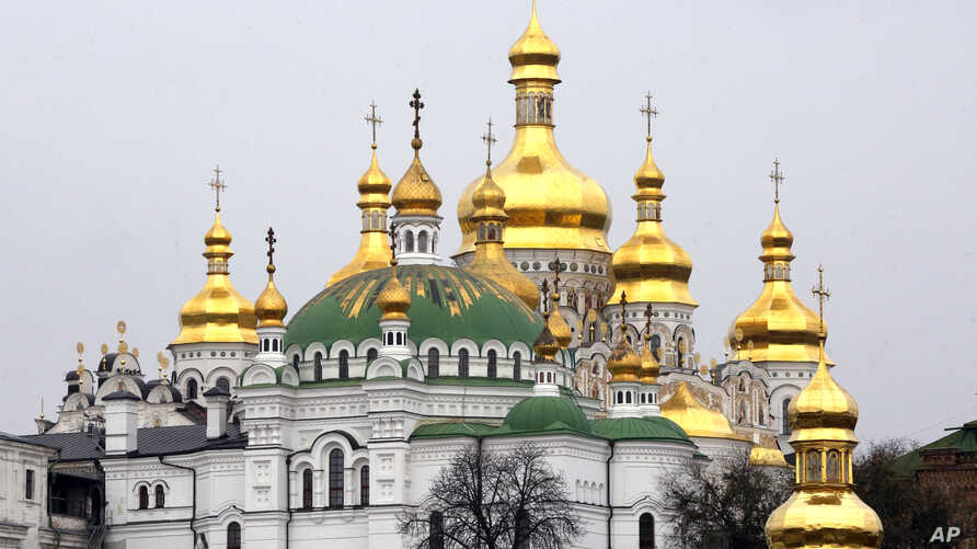 In this photo taken Nov. 2, 2018, a view of the 1000-year old Monastery of Caves in Kiev, Ukraine.