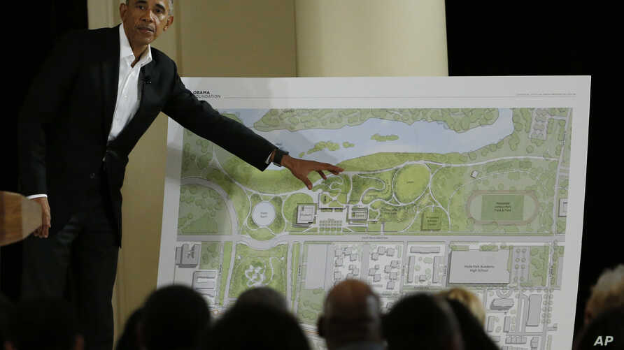 Former President Barack Obama speaks at a community event on the Presidential Center at the South Shore Cultural Center in Chicago, May 3, 2017.