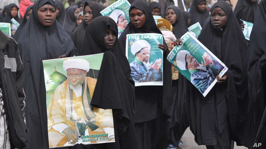 Nigeria shiites muslims took to the street to protest and demanded the release of Shiite leader Ibraheem Zakzaky,  in Kano, Nigeria, Dec. 21, 2015.