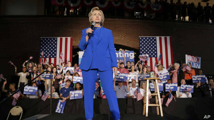 Democratic presidential candidate Hillary Clinton speaks during a rally at Louisville Slugger Field's Hall of Fame Pavilion in Louisville, Ky., Tuesday, May 10, 2016.